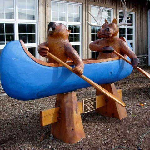 Two bears and a canoe!