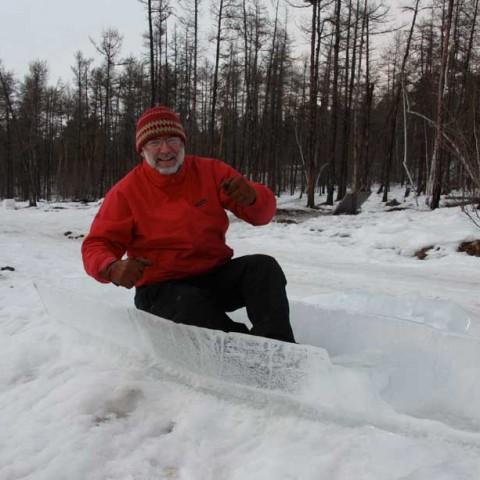 Paddle an ice canoe